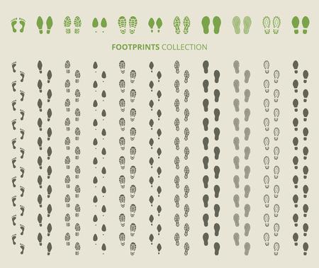Chaussures empreintes définies. Empreinte et l'étape humaine, chaussures et piste, illustration vectorielle