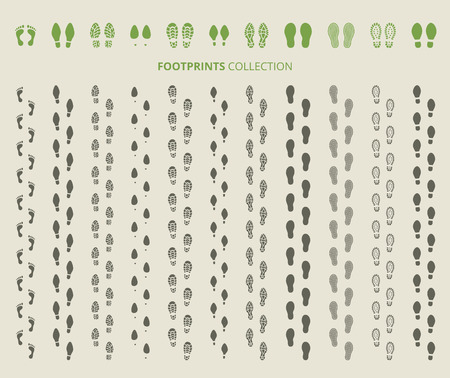 feet: Shoes imprints set. Footprint and human step, footwear and track, vector illustration