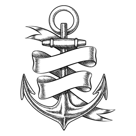 antique: Vector hand drawn anchor sketch with blank ribbon. Nautical isolated object, vintage marine tattoo illustration