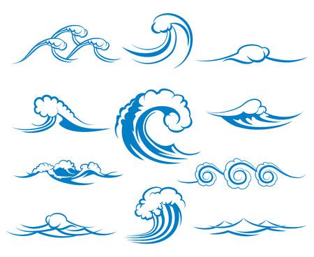 oceano: Olas de mar o las olas del mar, el agua azul, salpicaduras y Gale, ilustración vectorial