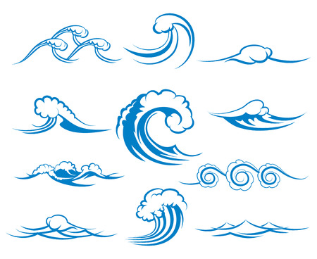 Waves of sea or ocean waves, blue water, splash and gale, vector illustration Çizim