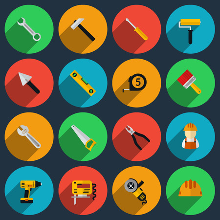 jig saw: Tools flat icons set. Roller and saw, screwdriver and spanner, drill and roulette, spatula and helmet, jig and brush. Vector illustration Illustration