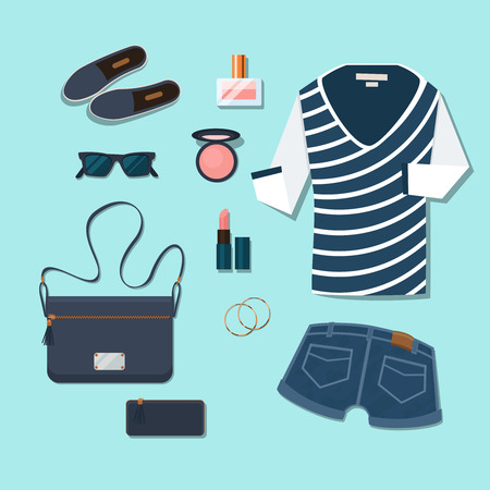 overhead view: Casual young woman outfit. Gumshoes and accessories, glasses and perfume, handbags and cosmetics, earrings and shorts. Vector illustration