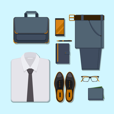 folded clothes: Business man casual outfit. Accessory belt with pants, glasses and smartphone, pen and wallet. Vector illustration