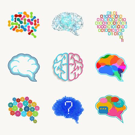 schöpfung: Gehirn, Kreation und Idee vector icon set. Imagination und Lösung, Geist und Intelligenz, Getriebe Schaffung Energie illustration Illustration