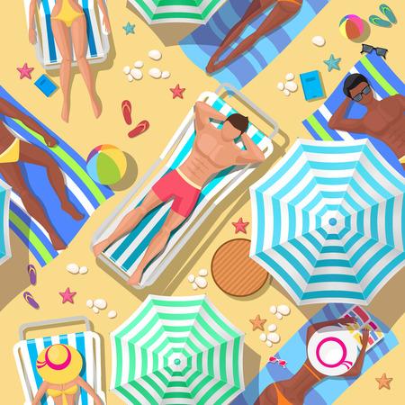 strandstoel: Strandvakanties naadloze achtergrond. Ontspanning en de zomer, toerisme en rust, ontspanning buitenshuis, comfortabele recreatie, vector illustratie