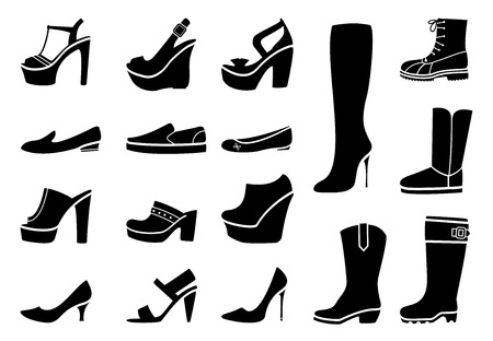 siluetas de mujeres: Zapatos de la mujer iconos conjunto. Talón de moda, calzado y bota, ilustración vectorial