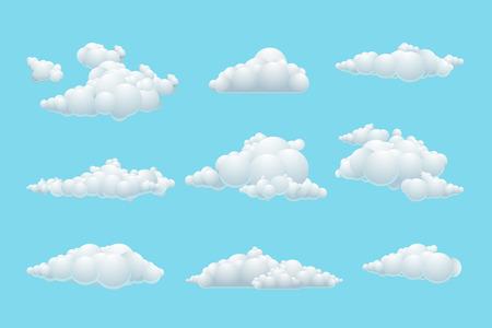 estado del tiempo: Conjunto de vectores de dibujos animados nube. Tiempo elemento blanco, cielo azul de fondo ilustración