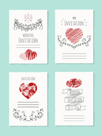 Tarjeta de boda del vector con el corazón dibujado. Flor e invitación, bandera floral, fecha de celebración de la ilustración