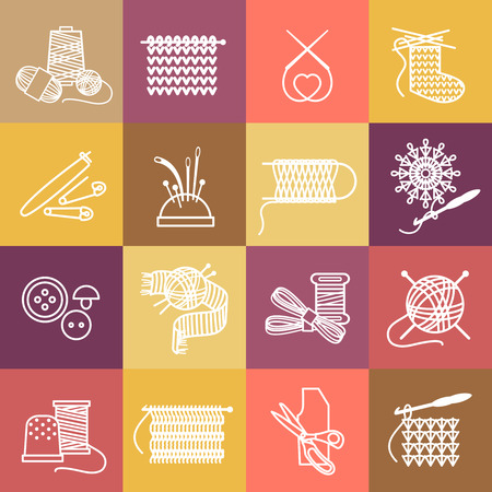 Knitting icons set. Thread and sew, needle and embroider, craft and thimble, hook and clew. Vector illustration