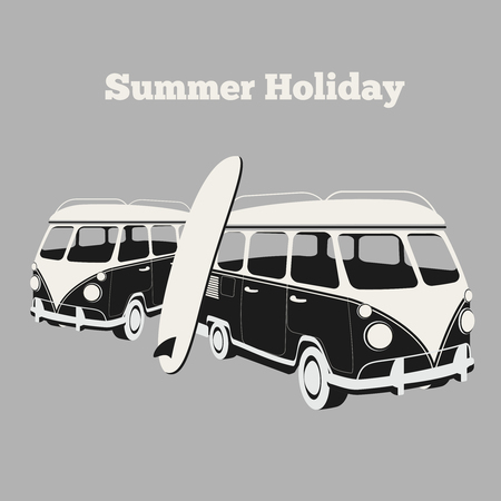 surf: Vintage surf poster. Van and surfing, design car, vacation and travel camping, surfboard and sport, vector illustration