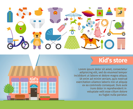 retail stores: Kids shop. Childrens clothing and toys. Retail and snail, whirligig and socks, rattle and pacifier, stroller and bear. Vector illustration