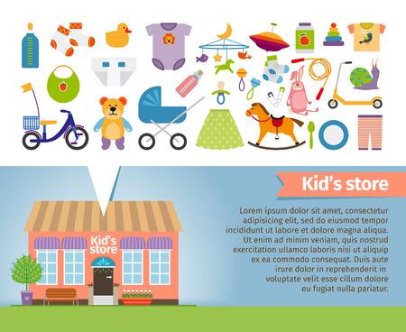juguetes: Tienda de los niños. Prendas de vestir para niños y juguetes. Al por menor y el caracol, perinola y calcetines, sonajero y chupete, cochecito y el oso. Ilustración vectorial
