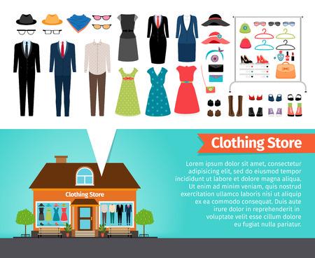 punto vendita: Negozio di vestiti. Set di vestiti e costruzione. Collezione di moda, scarpe e vendita, attività commerciale. Illustrazione vettoriale