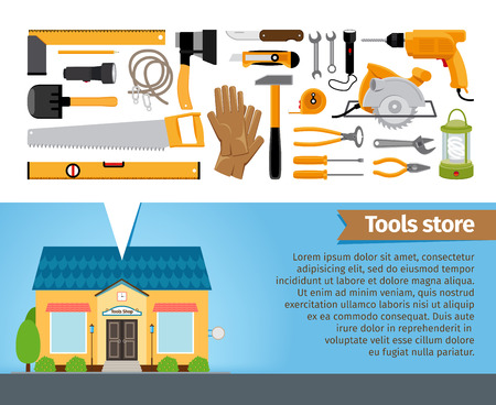 Tools store. Set of building instrument screwdriver spanner pliers shovel level saw ax hammer. Vector illustration