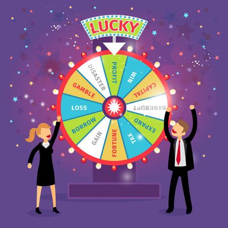 Вектор финансового колесо фортуны. Бизнес-концепция. Шанс и риск, авантюра и прибыль, налог на прирост и, брать и потеря, стихийных бедствий и капитал Иллюстрация