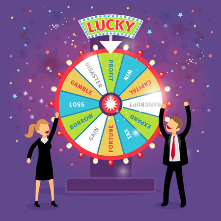 luck wheel: Vector financial wheel of fortune. Business concept. Chance and risk, gamble and profit, tax and gain, borrow and loss, disaster and capital