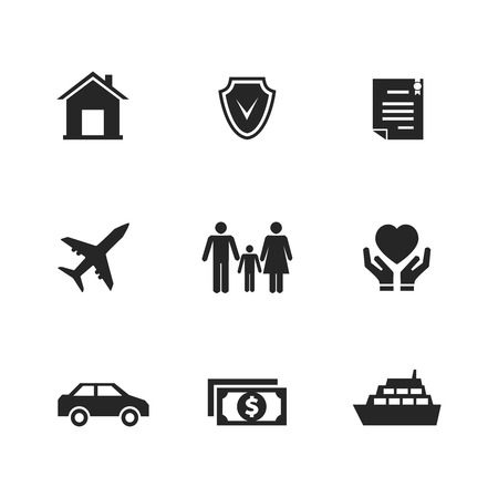 protection symbol: Vector insurance icons with hands. Protection life, medicine and health, care human, house and car
