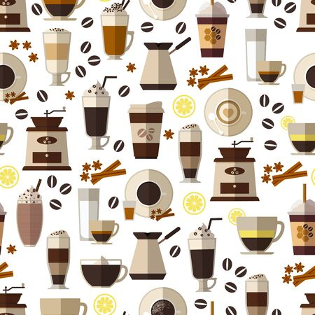 caffeine: Seamless coffee pattern in flat style. Mug and breakfast, beverage and espresso,  hot and caffeine. Vector illustration
