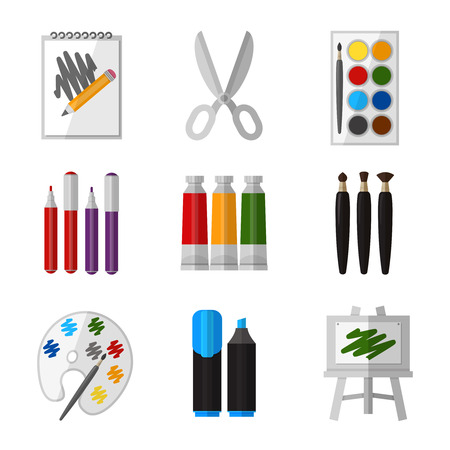 pen on paper: Vector tool set for artist in flat design style. Gouache and scissors, marker and palette and paintbrush illustration Illustration