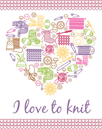 knitting needles: I love knitting heart. Needlework and knitting, yarn ball and handmade, needlecraft and handcraft. Vector illustration Illustration