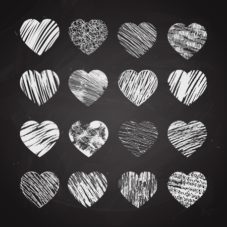 chalk outline: Hand drawn hearts on chalkboard. Valentine and chalk, love and sketch, symbol design, vector illustration Illustration