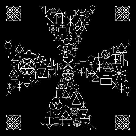 occult: Cruz esot�rica. La religi�n y la magia, el misterio abstracto, flecha oculta, la cultura y el paganismo, ilustraci�n vectorial
