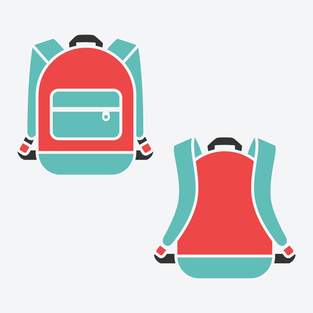 baggage: Vector backpack. Bag for school or travel, baggage object illustration