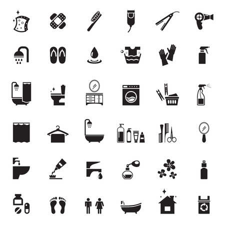 grifos: Iconos cuarto de baño fijados. Aseo y baño, ducha y toalla, jabón y cepillo de dientes, ilustración vectorial