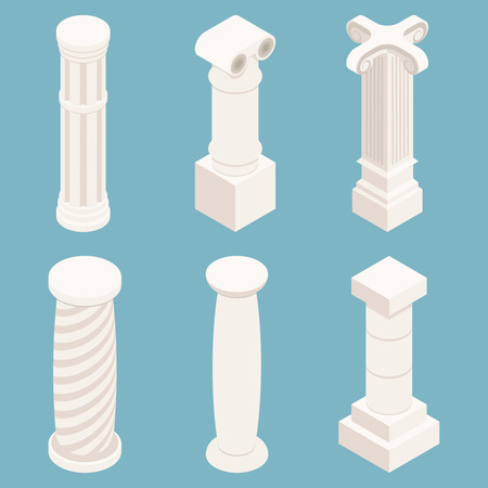 history architecture: Vector 3d isometric columns set. Architecture symbol, history stone, classic  monument, construction pillar illustration