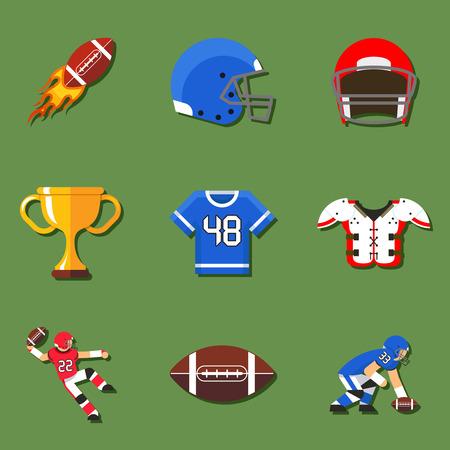campeonato de futbol: Iconos planos de f�tbol americano establecen. Casco y el deporte, momento del aterrizaje y el quarterback, juego trofeo. Ilustraci�n vectorial