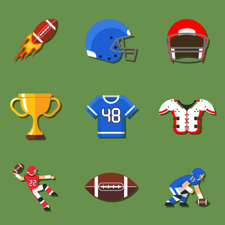 American football flat icons set. Helmet and sport, touchdown and quarterback, trophy game. Vector illustration Illustration