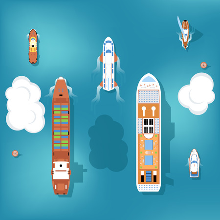 Set of vector ships. Top view. Yacht and travel, ocean and marine, cruise sea, transport boat and ship illustration Stock Illustratie