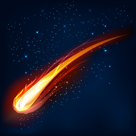 asteroid: Comet in space, meteor and energy, asteroid glow, powerful star moving,  vector illustration