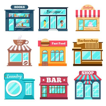 punto vendita: Negozi e negozi set di icone in stile design piatto. Fast food, book shop, bar e caffè. Illustrazione vettoriale Vettoriali