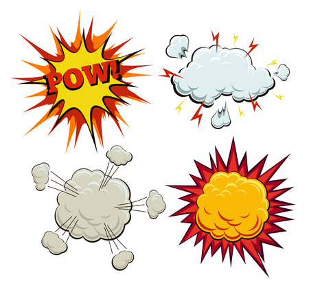 explosion: Boom, explosion and pow set. Burst and bang, blast and artwork sketch, fire and smoke bubble, vector illustration