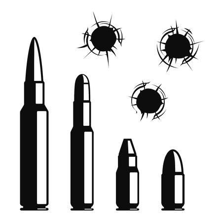 pistola: Agujeros de bala vector fijados. La violencia y el crimen, arma de fuego y militar, golpear y municiones ilustraci�n