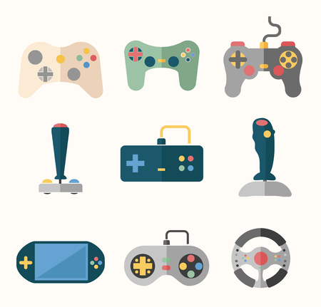 gaming: Joystick flat icons set. Play gaming, console and button, player and game. Vector illustration Illustration