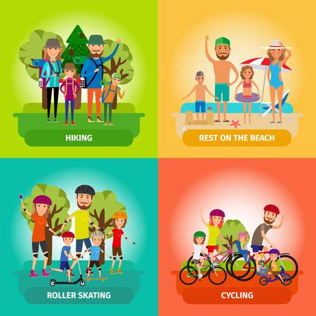 ciclismo: Vector conjunto de conceptos de la familia o de estilo de vida saludable en estilo plano. Roller y de la playa, el patinaje y el ciclismo, el senderismo y el deporte. Ilustraci�n vectorial