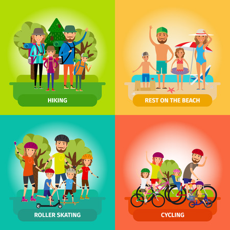 in action: Vector set of family or healthy lifestyle concepts in flat style. Roller and beach, skating and cycling, hiking and sport. Vector illustration