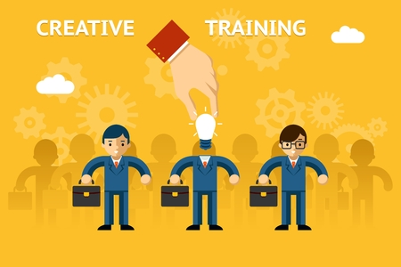 training business: Creative training. Business education, idea creativity, success and strategy, vector illustration