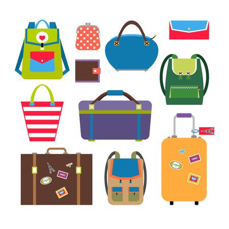 bagagli: Borse e le icone piane bagagli impostate. Bagagli e viaggi, valigetta e caso. Illustrazione vettoriale Vettoriali