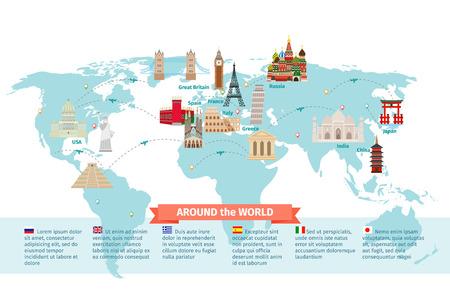 JAPON: Monde points de repère sur la carte. Kremlin et Eiffel et la tour de Pise, la Chine et le Japon et l'Inde. Vector illustration