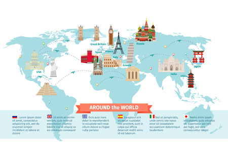 landmarks: World landmarks on map. Kremlin and Eiffel and Leaning tower, China and Japan and India. Vector illustration