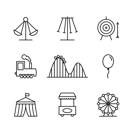 rollercoaster: Amusement park icons in thin line style. Rollercoaster and balloon, tent and arrow, festival and target. Vector illustration