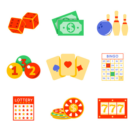 card game: Lottery flat icon set. Risk and card, luck and game, vector illustration