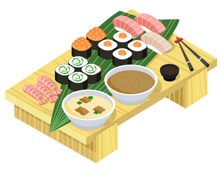 wasabi: Japanese food. Sushi and rolls on wooden stand. Fish and seafood, dinner and rice, wasabi and prepared lunch. Vector illustration