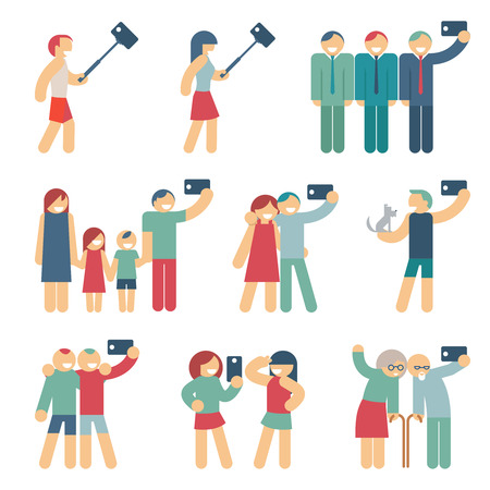 selfie: Selfie figures of people. People and friend, person and girlfriends, couple and child. Vector illustration Illustration