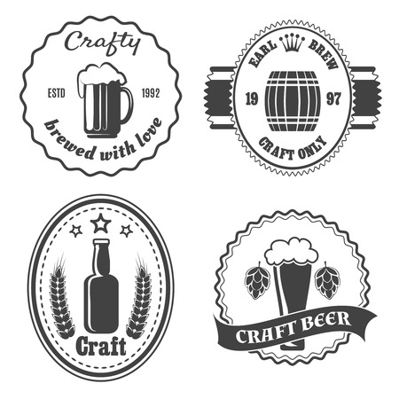 Brewery: Craft beer brewery badges and logo. Vintage bar icon, beverage alcohol, bottle and keg, vector illlustration