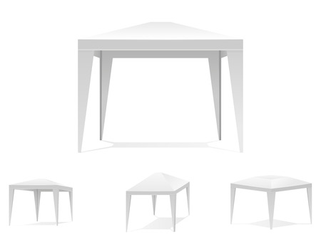 canopy: Folding white tent or canopy. Marquee and place, festive carnival, portable, umbrella. Vector illustration